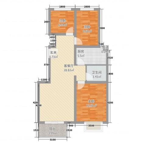 春城国际3室1厅1卫1厨535.00㎡户型图
