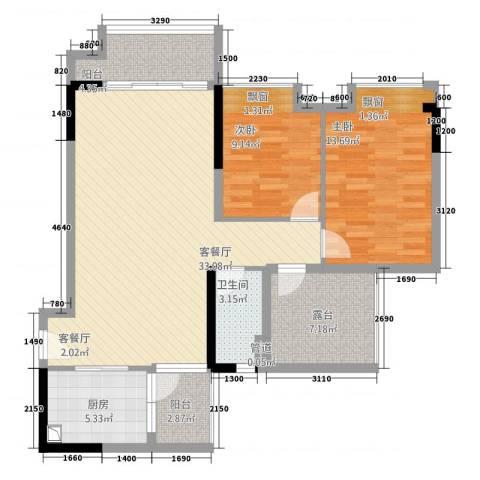 尚景轩2室1厅1卫1厨113.00㎡户型图