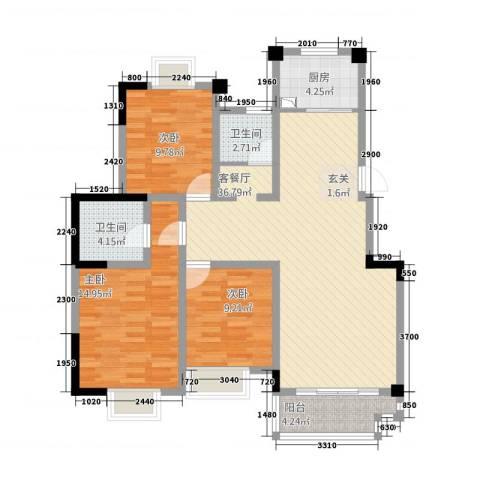 五一花园3室1厅2卫1厨125.00㎡户型图