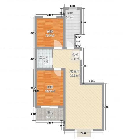 春城国际2室1厅1卫1厨8282.00㎡户型图