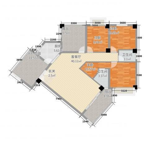 嘉业海华公寓3室1厅2卫1厨142.00㎡户型图