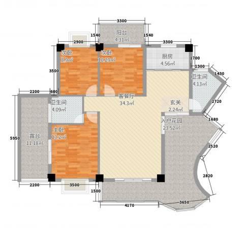 嘉业海华公寓3室1厅2卫1厨133.00㎡户型图