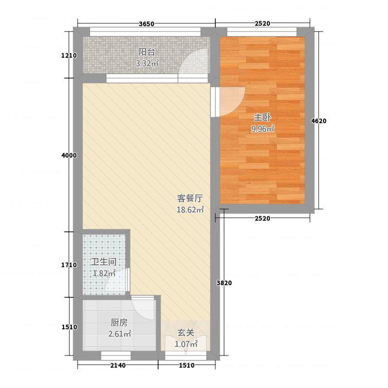 古城花苑53.00㎡户型1室1厅1卫1厨