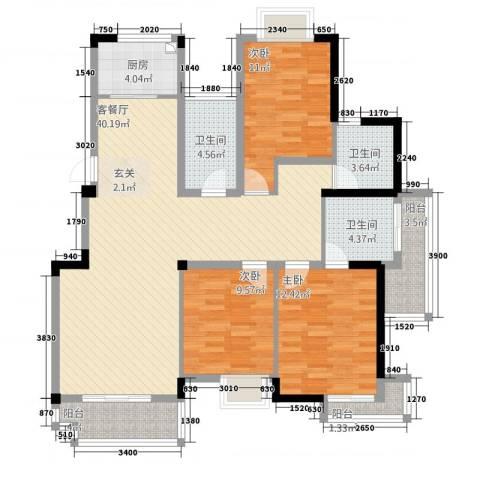 五一花园3室1厅3卫1厨143.00㎡户型图
