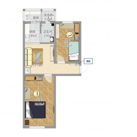 荣迁东里2室1厅1卫2厨64.00㎡户型图
