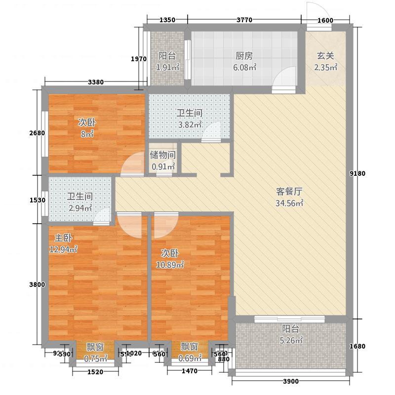 金茂花园124.00㎡A3户型3室2厅2卫