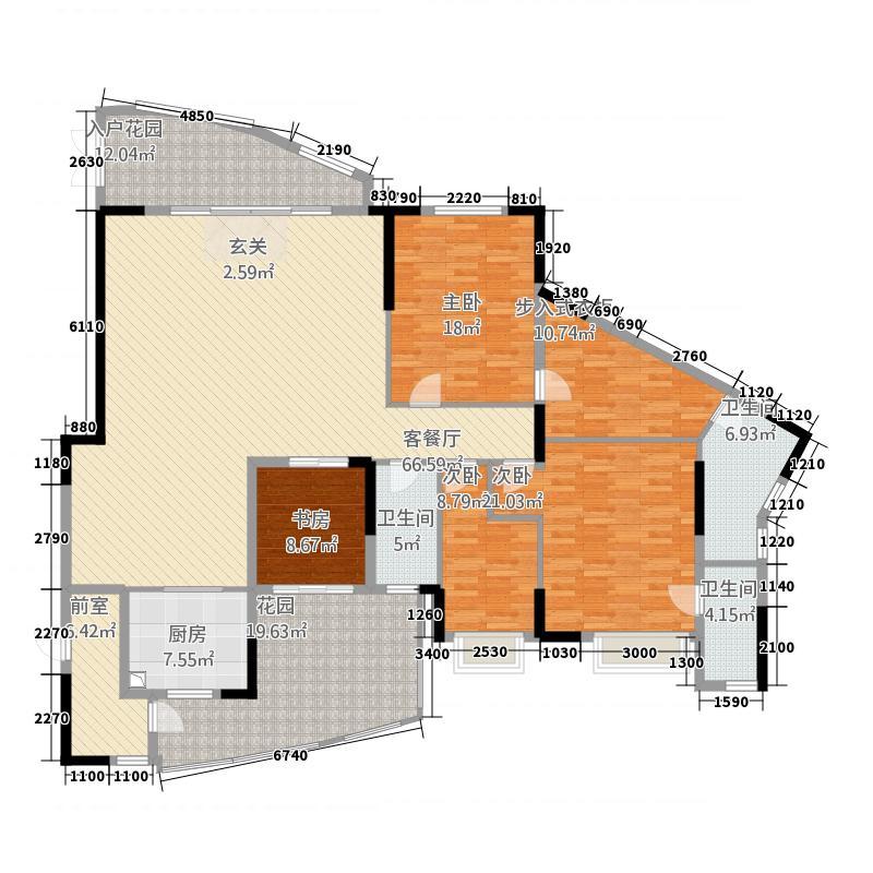 均城上岛水岸246.00㎡户型4室2厅3卫1厨