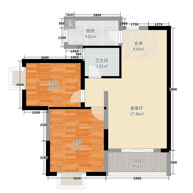 穿紫河・月畔湾户型2室2厅1卫