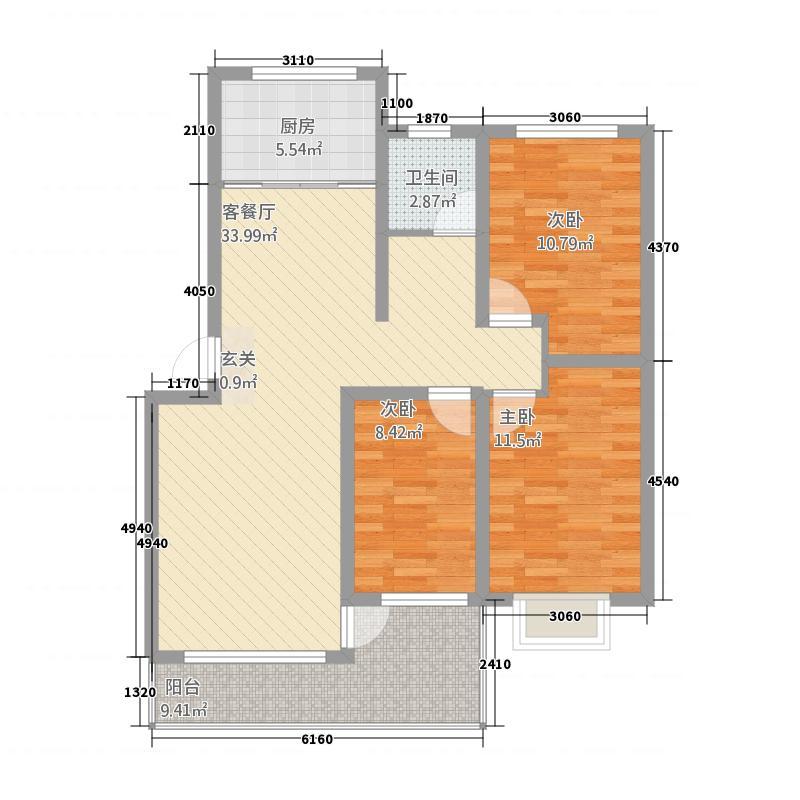 古城花苑118.00㎡户型3室2厅1卫1厨