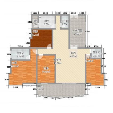 安江名园4室1厅3卫1厨154.88㎡户型图