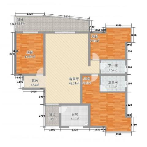 安江名园3室1厅2卫1厨165.00㎡户型图