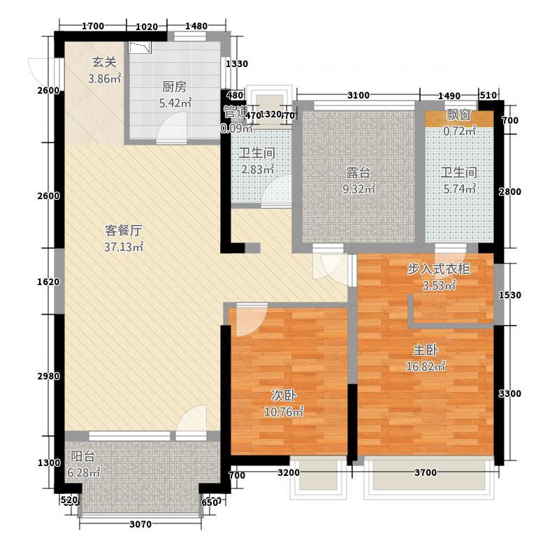 佳兆业中心126.00㎡C1户型3室2厅2卫1厨