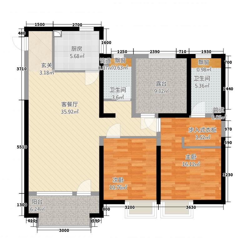 佳兆业中心12.00㎡C2户型3室2厅2卫1厨