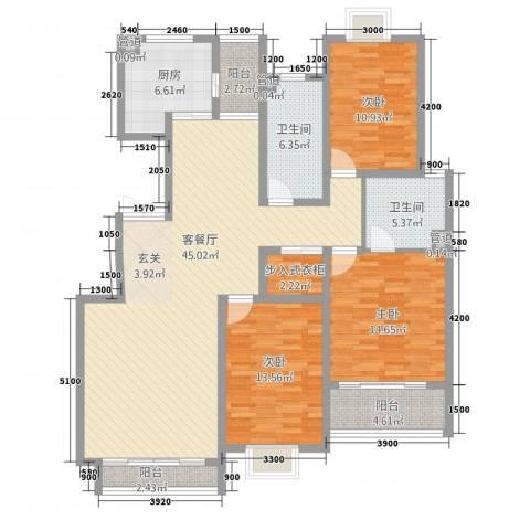 尚东城3室1厅2卫1厨166.00㎡户型图