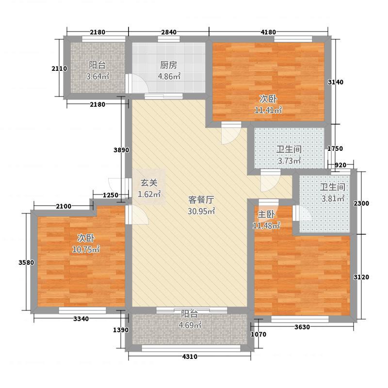 华盛新城124.00㎡B1户型3室2厅2卫1厨