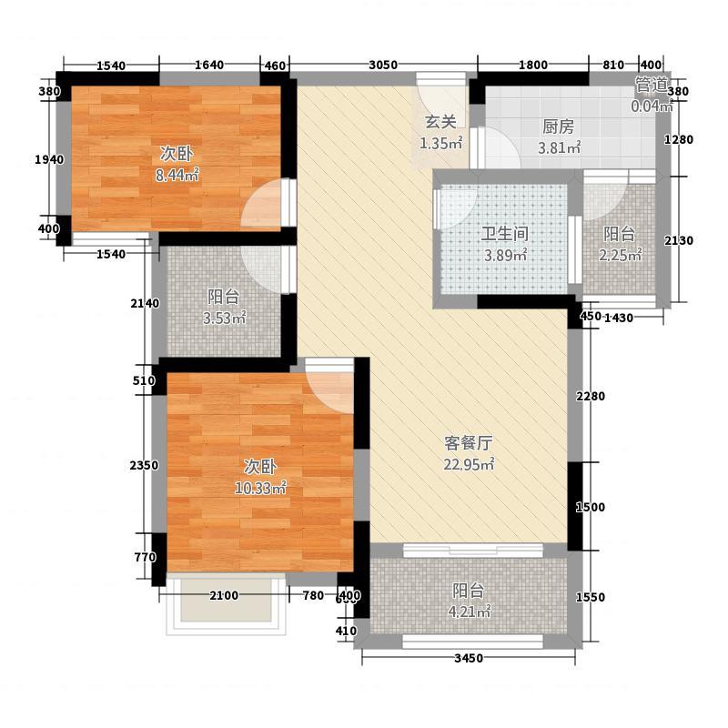 景徽国际5.45㎡A2户型2室2厅1卫1厨
