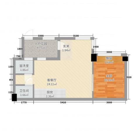 碧桂园・空港国际1室2厅1卫0厨61.00㎡户型图