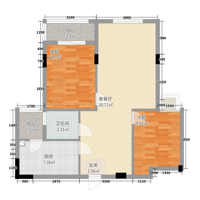 东新华庭83.18㎡乐源苑D户型2室2厅1卫1厨