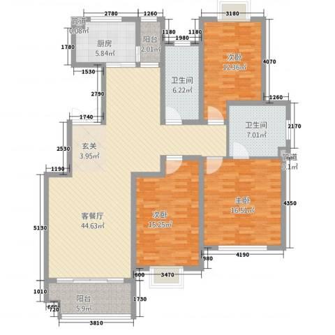 尚东城3室1厅2卫1厨165.00㎡户型图