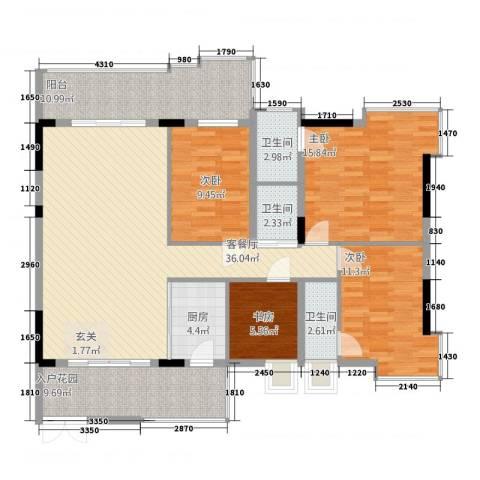 大唐盛世三期4室1厅3卫1厨156.00㎡户型图
