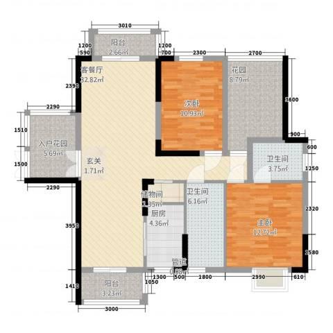 博泰・半岛水湾2室1厅2卫1厨1116.00㎡户型图