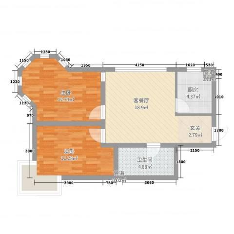 翔凤山水国际2室1厅1卫1厨75.00㎡户型图