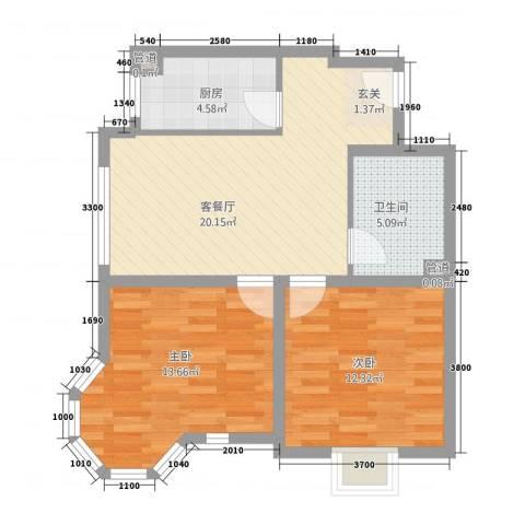 翔凤山水国际2室1厅1卫1厨72.00㎡户型图