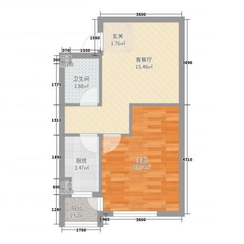 翔凤山水国际1室1厅1卫1厨37.22㎡户型图