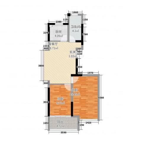 永泰家园2室1厅1卫1厨82.00㎡户型图