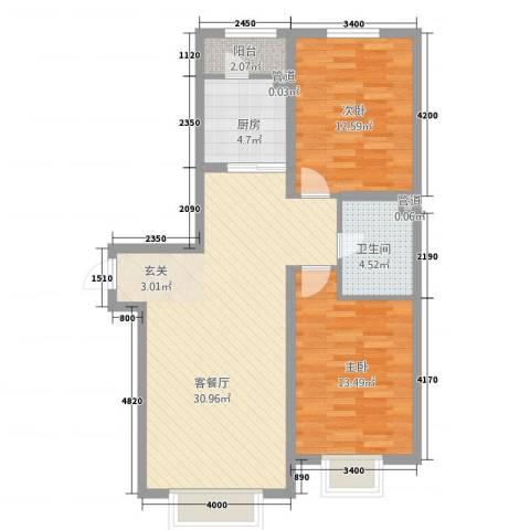 昆明社区2室1厅1卫1厨97.00㎡户型图