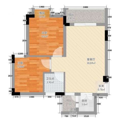 星座尚筑2室1厅1卫1厨51.00㎡户型图
