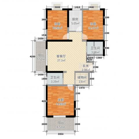 天赐苑3室1厅2卫1厨131.00㎡户型图