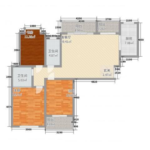外滩首府3室1厅2卫1厨225.00㎡户型图