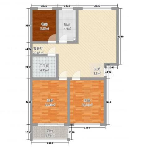 德兴运城3室1厅1卫1厨110.00㎡户型图