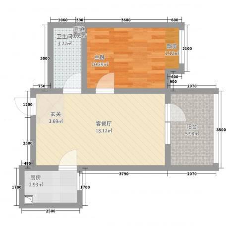 城开半岛花园1室1厅1卫1厨53.00㎡户型图