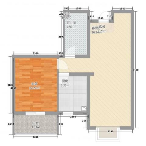 清水河畔1室1厅1卫1厨61.00㎡户型图
