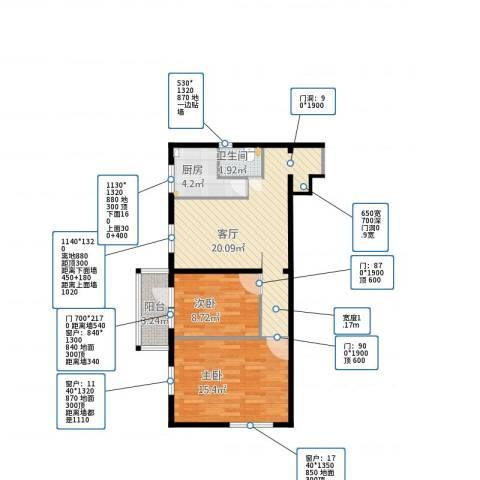 北营房东里2室1厅1卫1厨75.00㎡户型图
