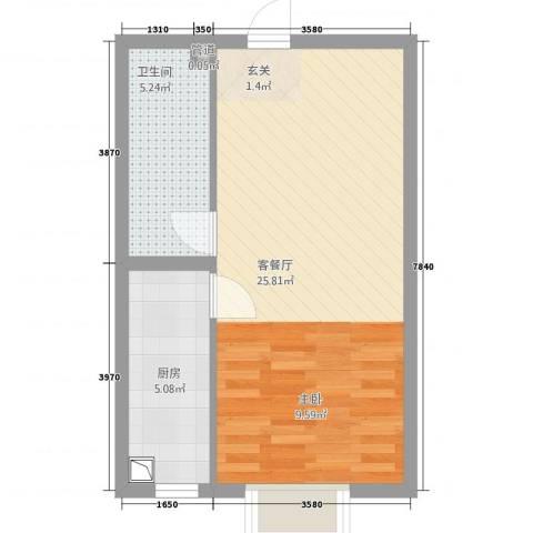 清水河畔1厅1卫1厨41.00㎡户型图