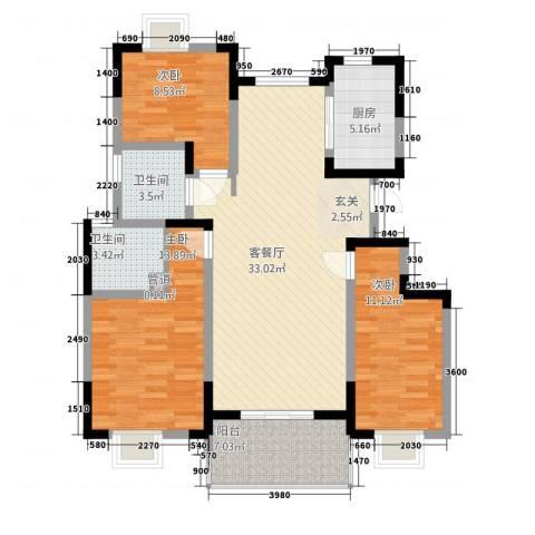 城开半岛花园3室1厅2卫1厨124.00㎡户型图
