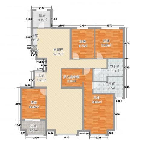朗�骏景4室1厅2卫1厨131.31㎡户型图