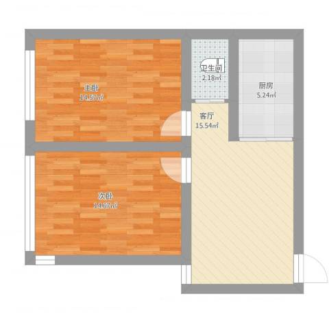 金海里2室1厅1卫1厨77.00㎡户型图