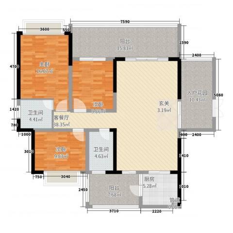 万和乐华花园3室1厅2卫1厨135.00㎡户型图