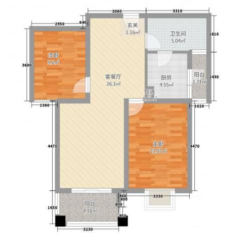 晟地润园2室1厅1卫1厨89.00㎡户型图