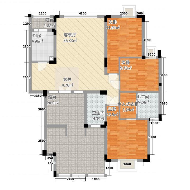 美宇凤凰城121.22㎡E1户型3室2厅2卫1厨