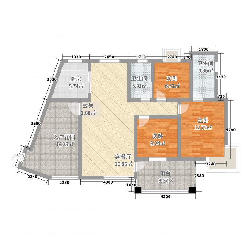 龙云・城中央141.63㎡D户型3室2厅2卫1厨