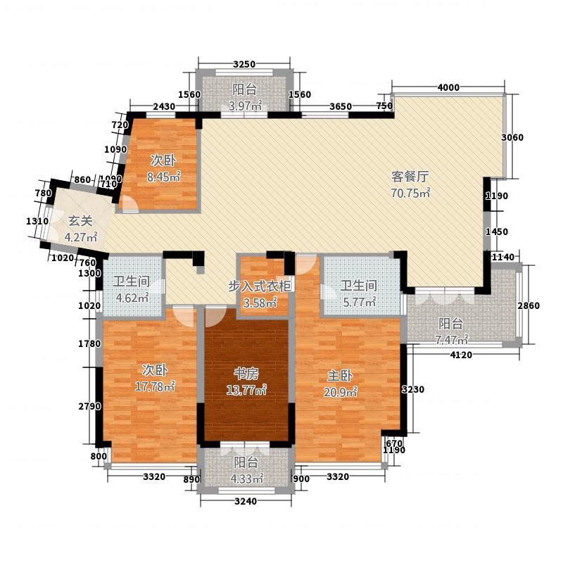 树客国际公寓224.46㎡户型4室