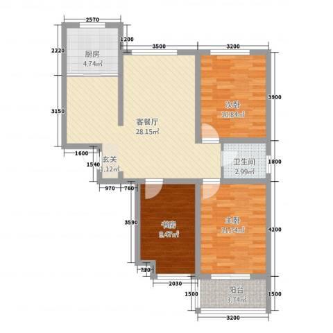 东方世纪城3室1厅1卫1厨71.67㎡户型图