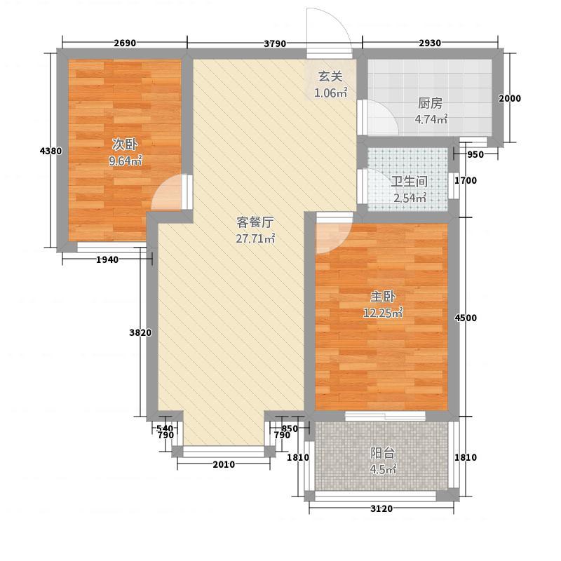 东方世纪城8.00㎡二期4#C2户型2室2厅1卫1厨