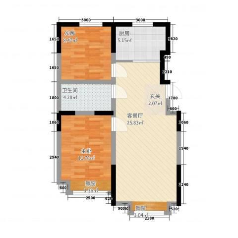 嘉宏盛世普宅2室1厅1卫1厨79.00㎡户型图