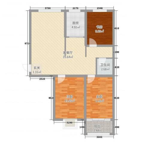 万豪华庭公馆3室1厅1卫1厨115.00㎡户型图